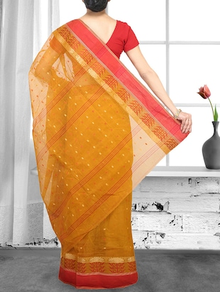 yellow cotton handloom saree - 14910218 - Standard Image - 2