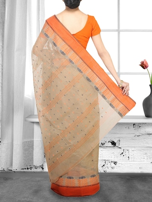 beige cotton handloom saree - 14910221 - Standard Image - 2