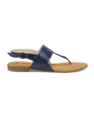 blue faux leather back strap sandals - 14910355 - Standard Image - 2
