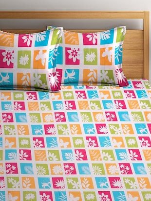 Cotton 180 TC Cotton Bedsheet with 2 pillow covers - 14910503 - Standard Image - 2