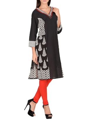 black cotton straight kurta - 14911400 - Standard Image - 2