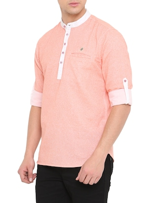 pink cotton short kurta - 14911880 - Standard Image - 2