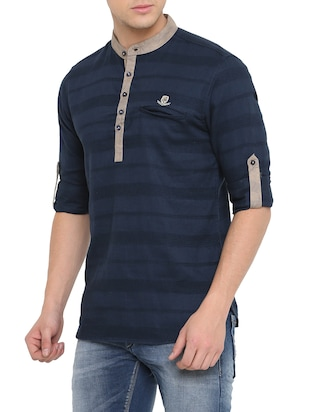 navy blue cotton short kurta - 14911883 - Standard Image - 2
