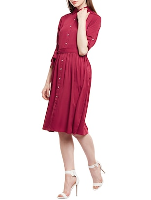 pink solid shirt dress - 14912060 - Standard Image - 2