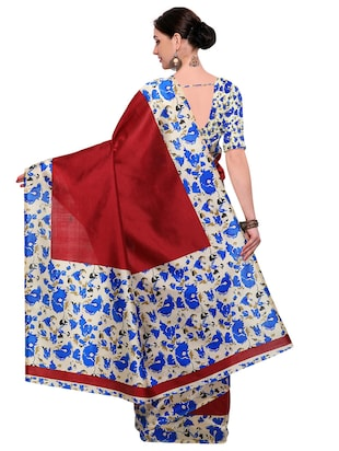 Contrast bordered saree with blouse - 14912313 - Standard Image - 2