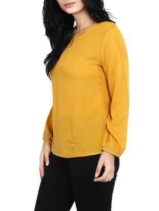 solid yellow full sleeved top - 14912492 - Standard Image - 2