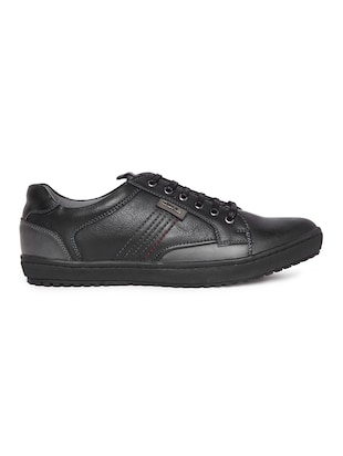 black leatherette lace up sneaker - 14912581 - Standard Image - 2