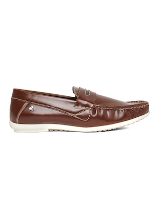 brown leatherette slip on loafer - 14912596 - Standard Image - 2