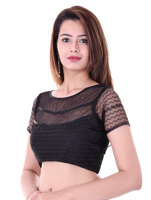 black net embroidered blouse - 14912760 - Standard Image - 2