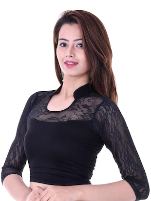 black cotton lycra embroidered blouse - 14912916 - Standard Image - 2