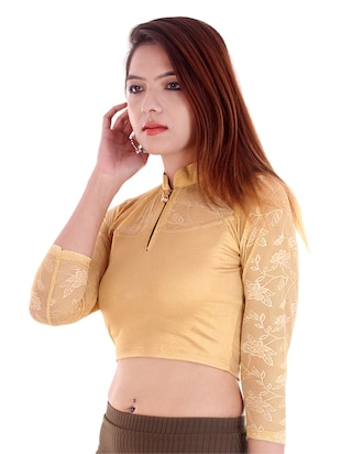 yellow cotton lycra embroidered blouse - 14912923 - Standard Image - 2