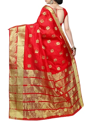 red cotton silk banarasi saree with blouse - 14913128 - Standard Image - 2