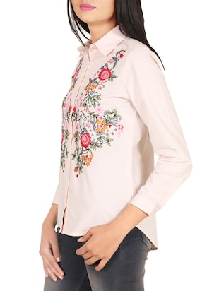 pink cotton embroidered shirt - 14914770 - Standard Image - 2