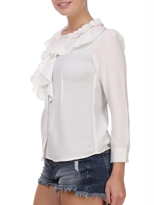 white solid ruffle top - 14914788 - Standard Image - 2