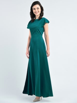 green solid gown dress - 14915214 - Standard Image - 2