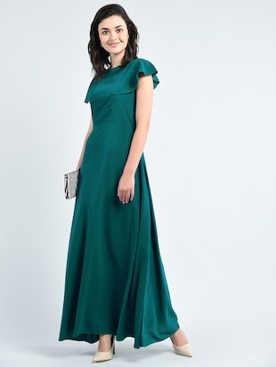 green solid gown dress - 14915214 - Standard Image - 5