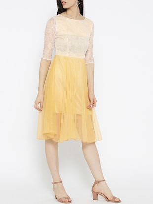 solid yellow fit & flare dress - 14915985 - Standard Image - 2