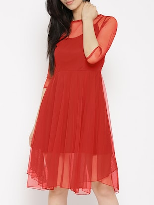 solid red fit & flare dress - 14915987 - Standard Image - 2