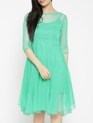 solid green fit & flare dress - 14915992 - Standard Image - 2