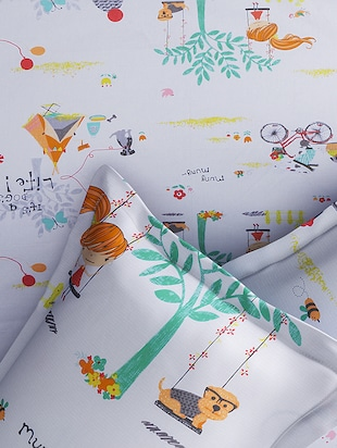 CARTOON PRINT DOUBLE BEDSHEET WITH 2 PILLOW COVERS - 14916220 - Standard Image - 2