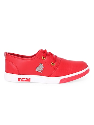 red leatherette lace up sneaker - 14916580 - Standard Image - 2