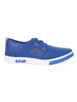 blue leatherette lace up sneaker - 14916591 - Standard Image - 2
