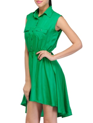 green solid asymmetrical dress - 14917230 - Standard Image - 2