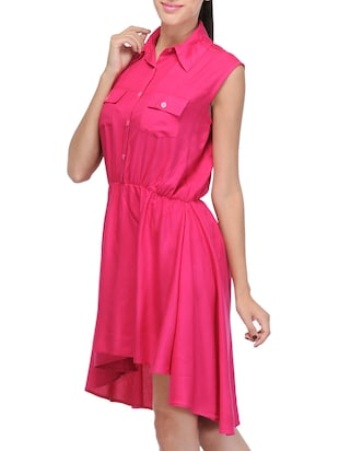 pink solid asymmetrical dress - 14917231 - Standard Image - 2