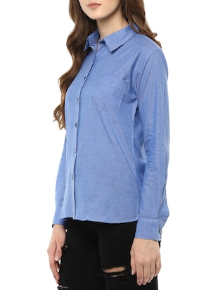 blue cotton solid shirt - 14917277 - Standard Image - 2