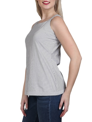 grey striped cotton top - 14918628 - Standard Image - 2