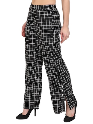 black checkered crepe palazzo - 14918957 - Standard Image - 2