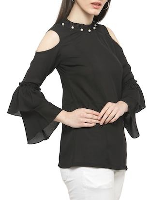 solid black cold shoulder top - 14919782 - Standard Image - 2