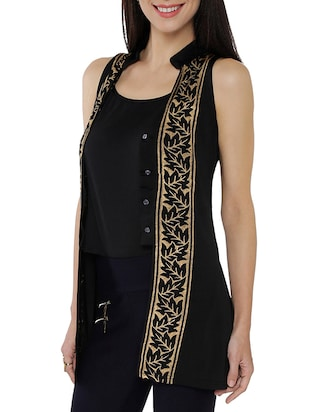 black synthetic layered kurti - 14920615 - Standard Image - 2