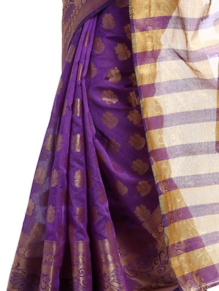 purple art silk woven saree with blouse - 14921161 - Standard Image - 2