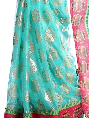 turquoise georgette printed saree with blouse - 14921162 - Standard Image - 2