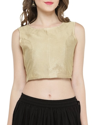 gold pure silk crop top -  online shopping for Tops