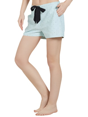 Light blue printed cotton shorts - 14921326 - Standard Image - 2