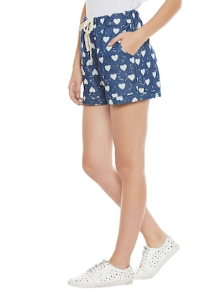 blue printed cotton shorts - 14921412 - Standard Image - 2