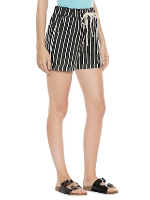 black striped cotton shorts - 14921415 - Standard Image - 2