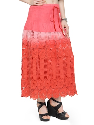 red cotton ombre maxi skirt - 14921473 - Standard Image - 2