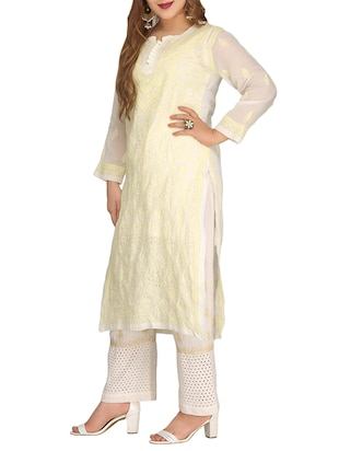 ADA cream cotton straight kurta - 14923017 - Standard Image - 2