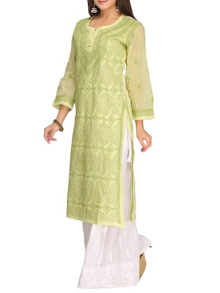 ADA green cotton straight kurta - 14923018 - Standard Image - 2