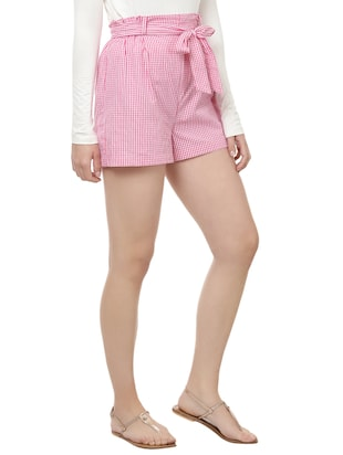 front knot checkered shorts - 14923826 - Standard Image - 2