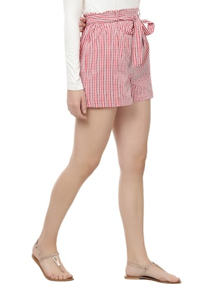 front knot checkered shorts - 14923827 - Standard Image - 2