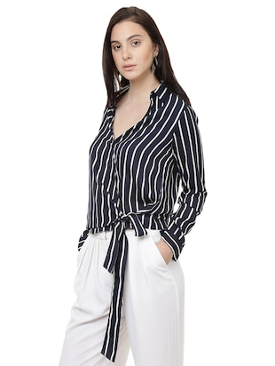 striped wrap polyester top - 14923863 - Standard Image - 2