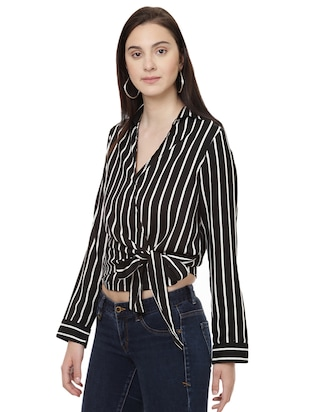 striped wrap polyester top - 14923865 - Standard Image - 2
