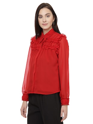red solid shirt - 14923871 - Standard Image - 2