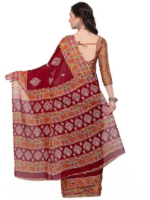 floral printed brown saree with blouse - 14924291 - Standard Image - 2
