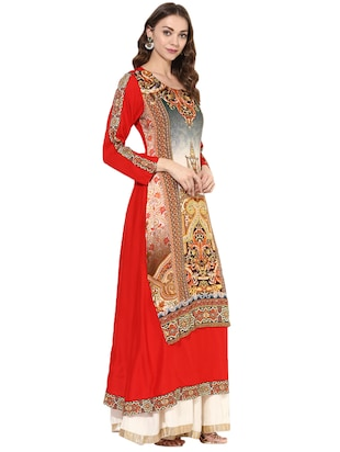 red rayon layered  kurta - 14924526 - Standard Image - 2