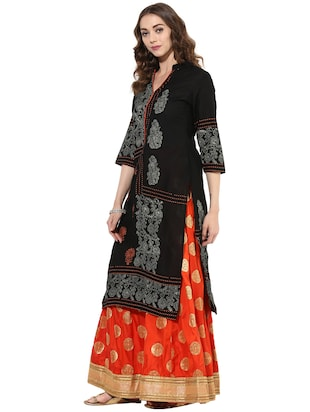 black cotton straight kurta - 14924540 - Standard Image - 2